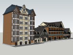 临街商铺建筑SketchUp模型下载