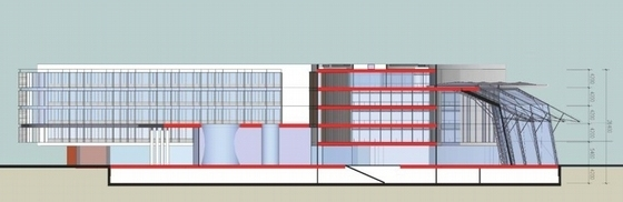 """[江苏]多层现代化""""盒子""""造型企业办公大楼建筑设计方案文本-多层现代化""""盒子""""造型企业办公大楼建筑剖面图"""