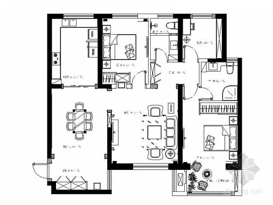 [陕西]时尚优雅浪漫之旅法式三居室CAD装修施工图(含效果)