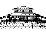 3层圆形造型经典中餐厅建筑图