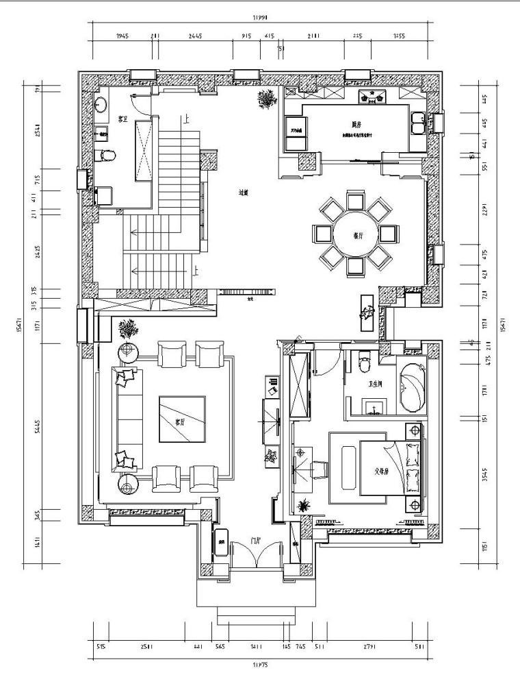 新中式三层别墅内部装修施工图设计(附效果图)
