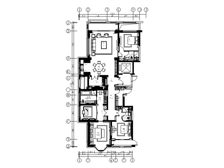 现代简约样板房设计cad装修图
