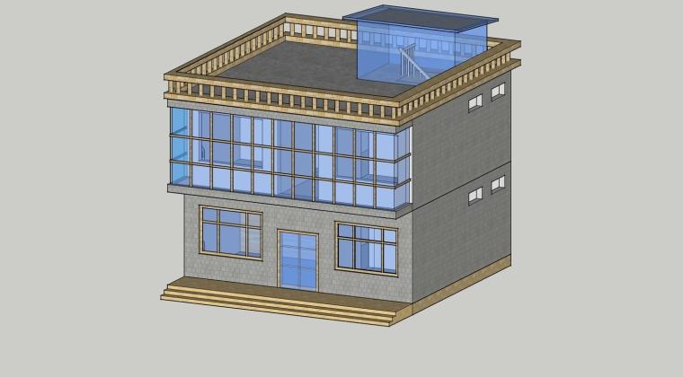 自建房设计 经济合理舒适    su模型 效果图  建筑方案图