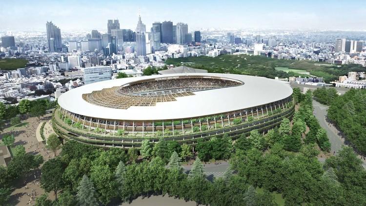 隈研吾事务所设计的2020年东京奥运会主体育场开始动工