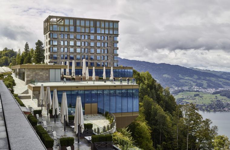 瑞士布尔根施托克酒店-Ostfassade-BenHuggler