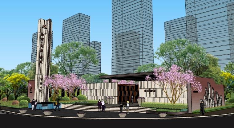 [浙江]杭州住宅样板区景观SU模型
