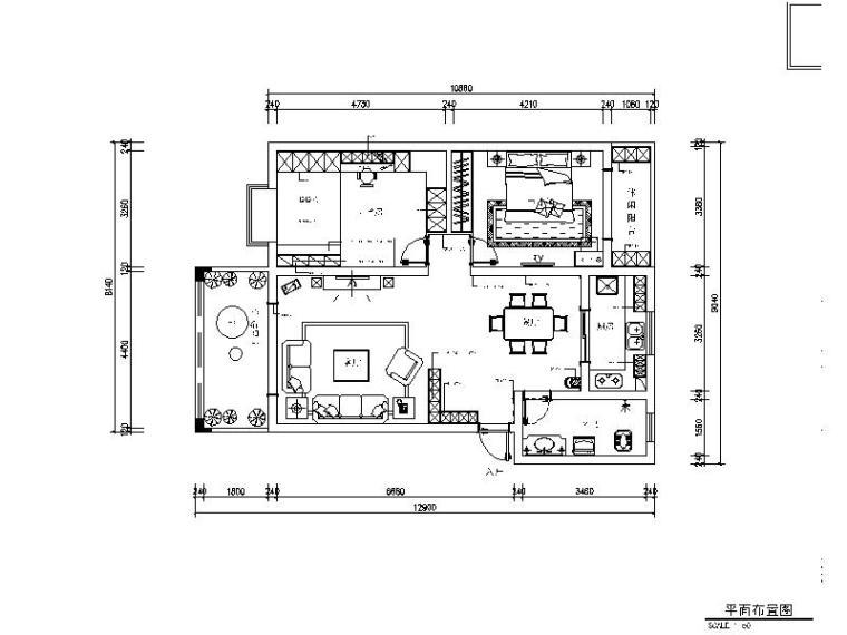 90平欧式两居室装修整套施工图