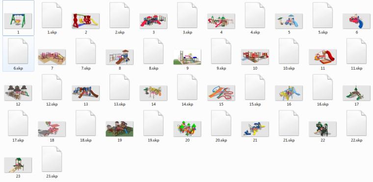 回帖下载,23个儿童游乐设施SU设计素材