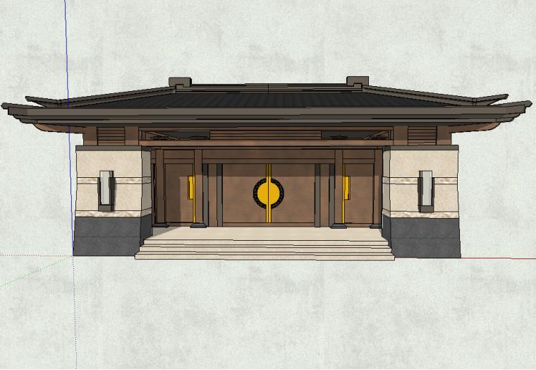 入口大门模型设计(新中式风格)