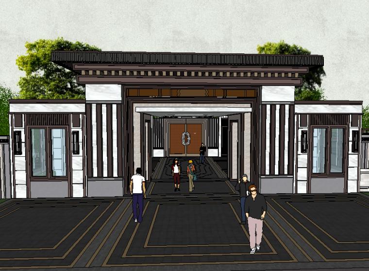 某居住区小区入口大门模型设计(新中式风格)