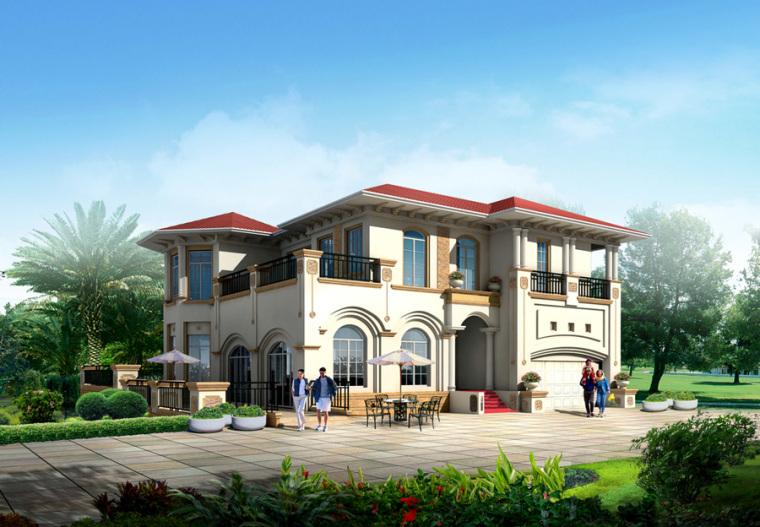 农村二层别墅盖房设计案例效果图-别墅2