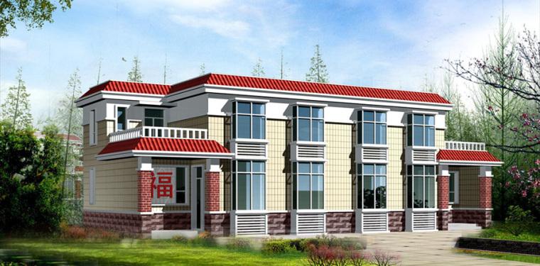 农村二层别墅盖房设计案例效果图-别墅6