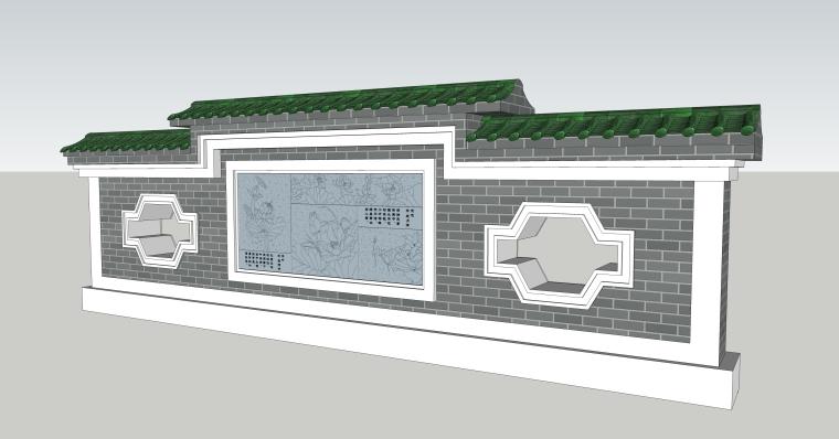 sketchup小品16款多种中式景墙照壁花池雕花镂空古典景观墙