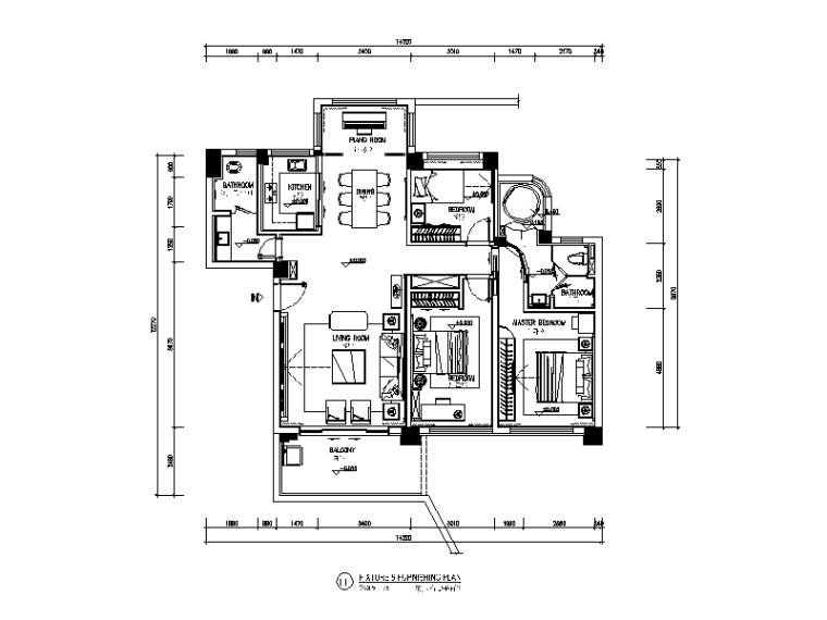 [广东]中式风格样板房设计CAD施工图(含效果图)-【广东】中式风格样板房设计CAD施工图(含效果图)平面图