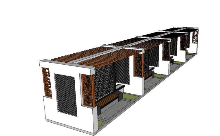 中式单向廊架景观设计SU模型