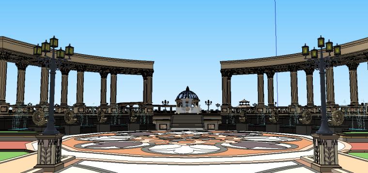 新古典主义居住区景观模型 4
