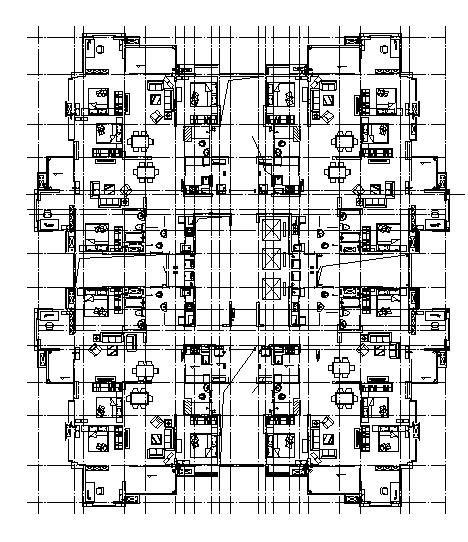 高层多栋塔式住宅建筑施工图(含有水暖电全专业图纸)