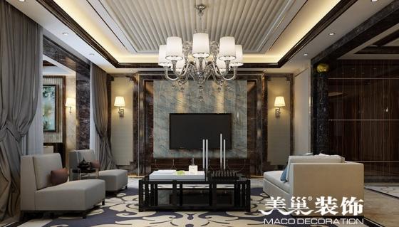 武汉复地东湖国际装修港式风格4室2厅客厅电视墙效果