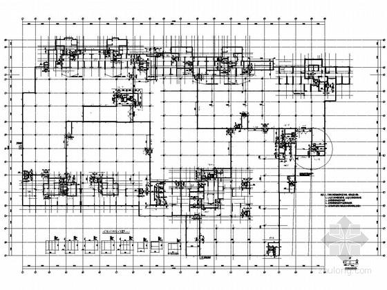 [安徽]附建掘开式框架结构地下停车库结构施工图