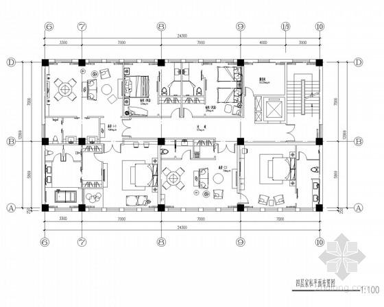 [山西]现代简约风格办公会所CAD施工图(含效果图)