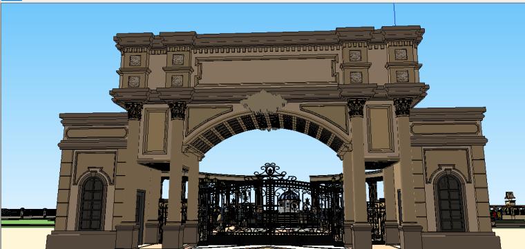 新古典主义居住区景观模型 2