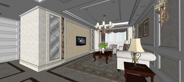 室内设计简欧风格客餐厅SU模型-05.客厅