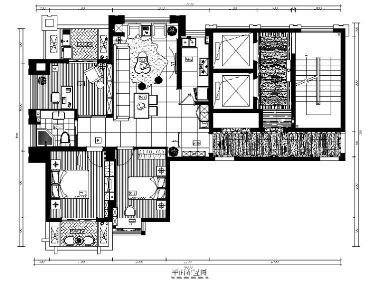 [福建]福州样板房设计CAD施工图(含效果图)