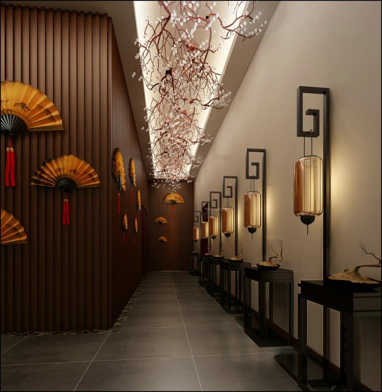 中餐厅垂花走廊3D模型