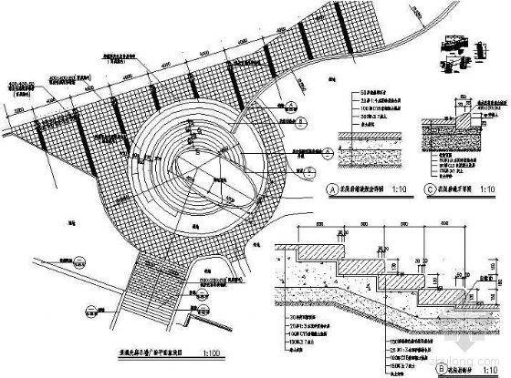 圆形小广场铺装平面及做法详图