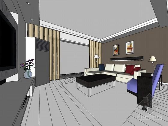 室内整体场景sketchup模型下载