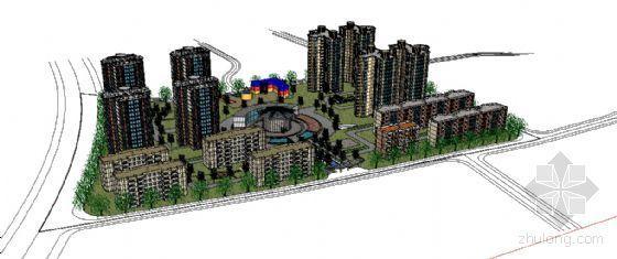 草图大师欧式浮雕模型下载资料下载-居住区模型--草图大师建模