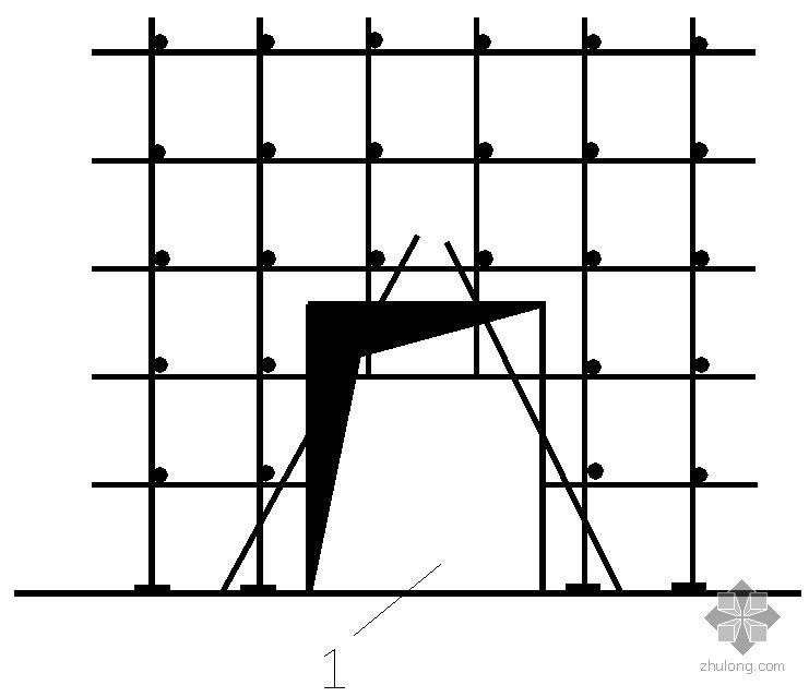 某门窗洞口外脚手架搭设节点构造详图