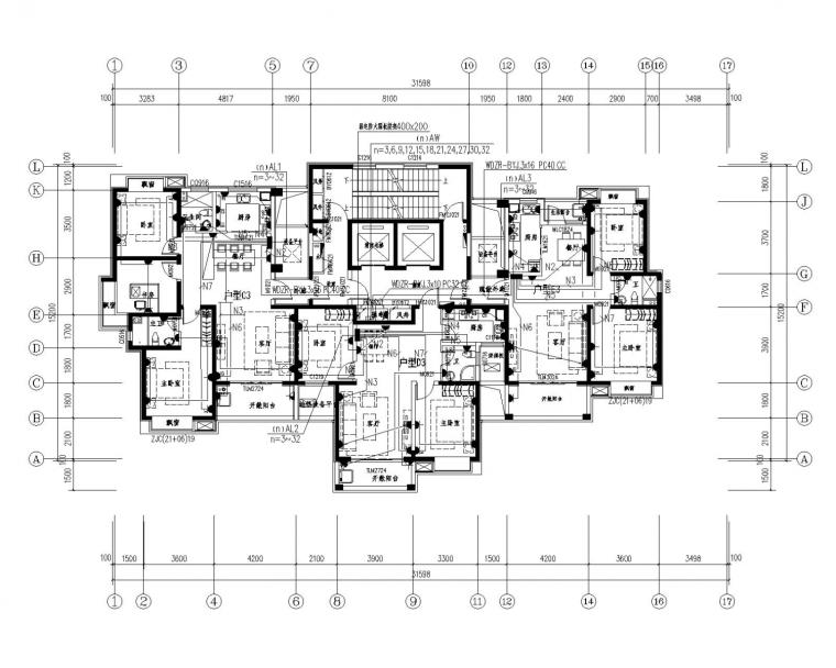 [江西]小区住宅楼电气施工图(含航空障碍灯系统图)