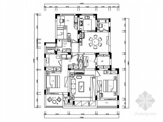 精品简约现代风格四居室装修室内设计施工图(含软装方案)