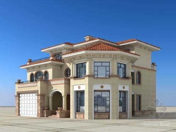 三层欧式别墅建筑3d模型下载