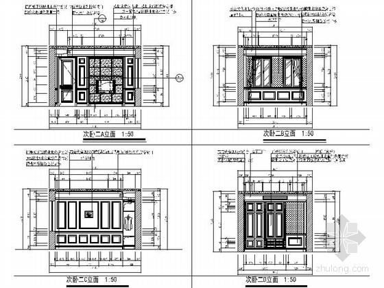 [杭州]某复古欧式三层别墅室内设计施工图 次卧立面
