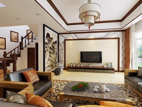中式别墅客厅3d模型