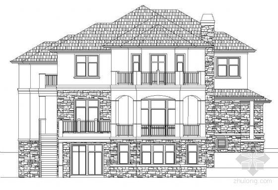 北方某二层美式别墅建筑方案图