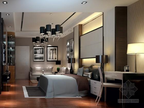 现代套房卧室3D模型下载
