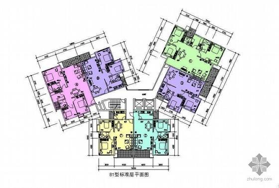 塔式多层一梯六户户型图(108/80/115/80/77/74)