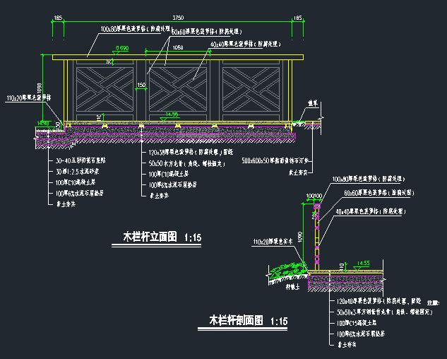 木栏杆节点详图