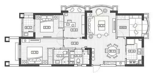 欧式轻奢范文资料下载-113㎡挤出4室2厅,简约轻奢设计,住着真舒服!