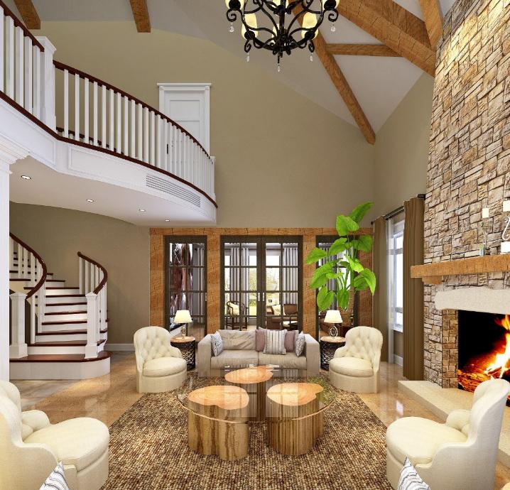 美式-复地爱伦坡别墅室内设计方案图(含效果图,施工图)-客厅效果图