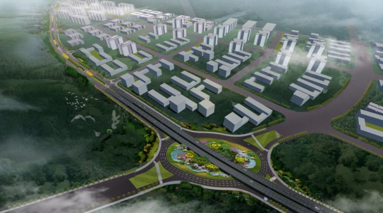 [湖北]中华一路道路景观规划设计(PDF+66页)-总体鸟瞰
