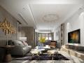 现代几何质感住宅客厅设计3D模型(附效果图)