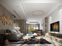 现代几何质感住宅客厅北京赛车3D模型(附效果图)