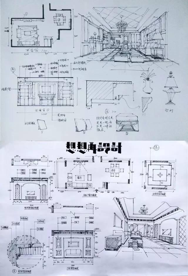 室内手绘 室内设计手绘马克笔上色快题分析图解_52