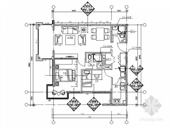 [北京]花园小区时尚两居室室内装修施工图(含效果)