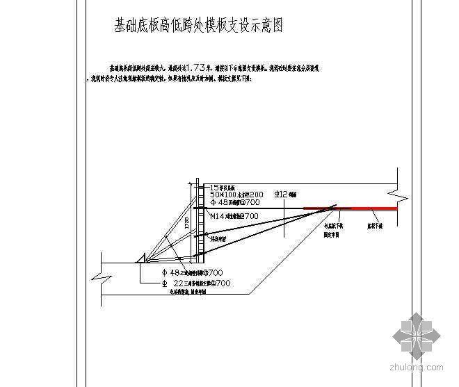 基础底板高低跨处模板支设示意图(多层板)