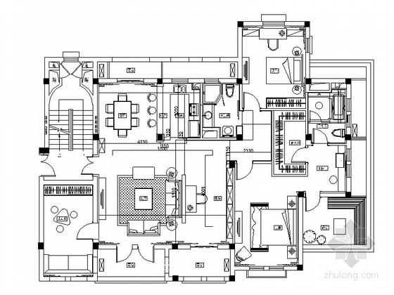 [青岛]生态绿城现代三居室样板房装修设计施工图
